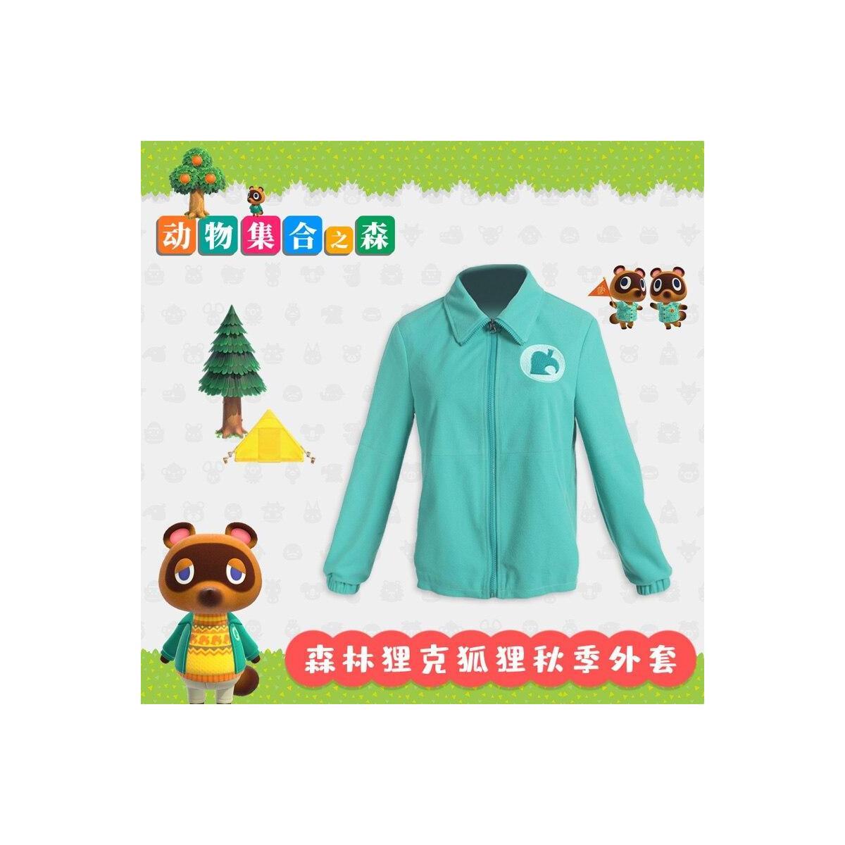 Animal Crossing Zip Up Fleece Jacket, Zipper Coat Green / L