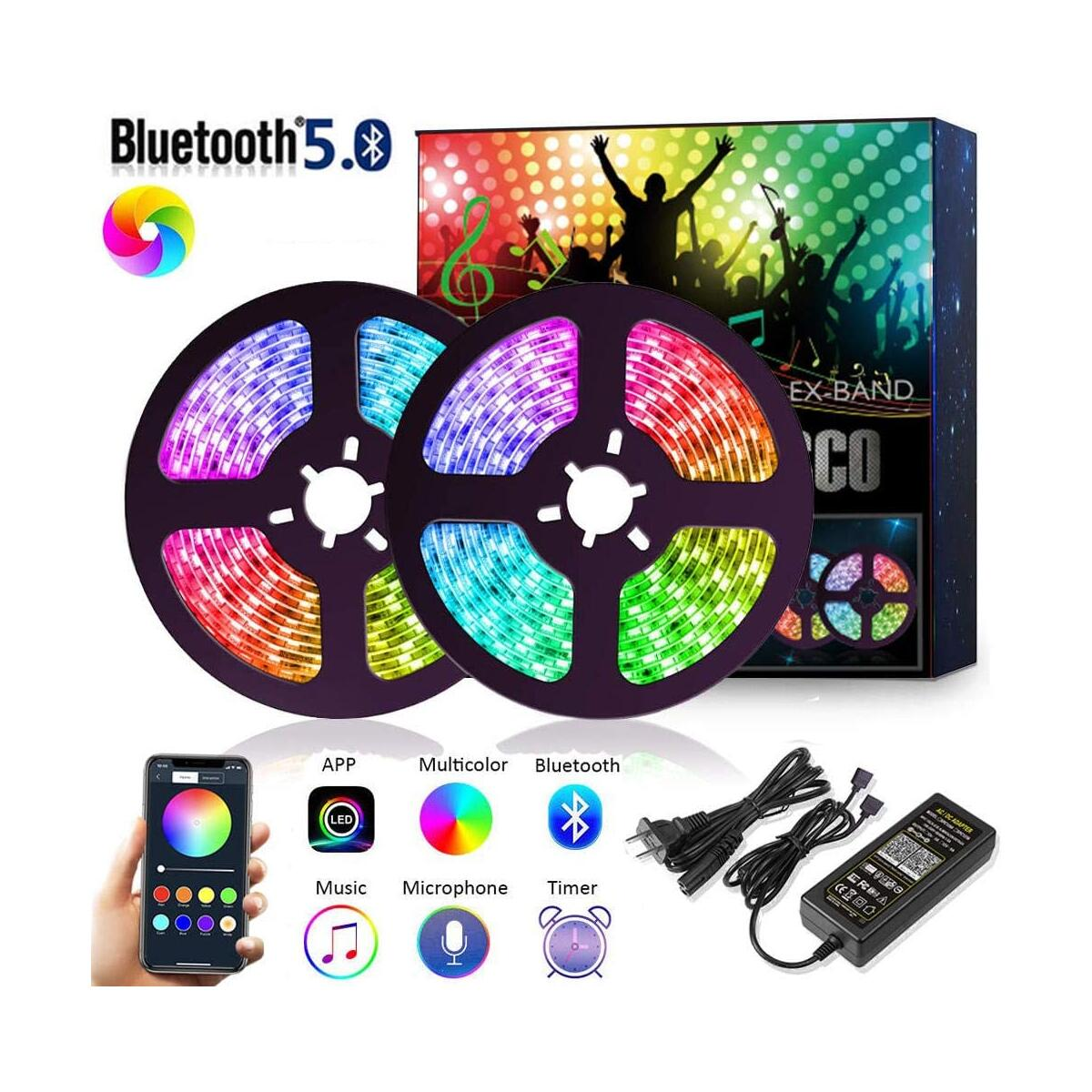 Wild Mustang LED Strip Lights 32.8ft Waterproof Color RGB Changing Light Strips with Remote, Bright 5050 and Multicolor RGB LED Lights for Room, Bedroom, Kitchen,