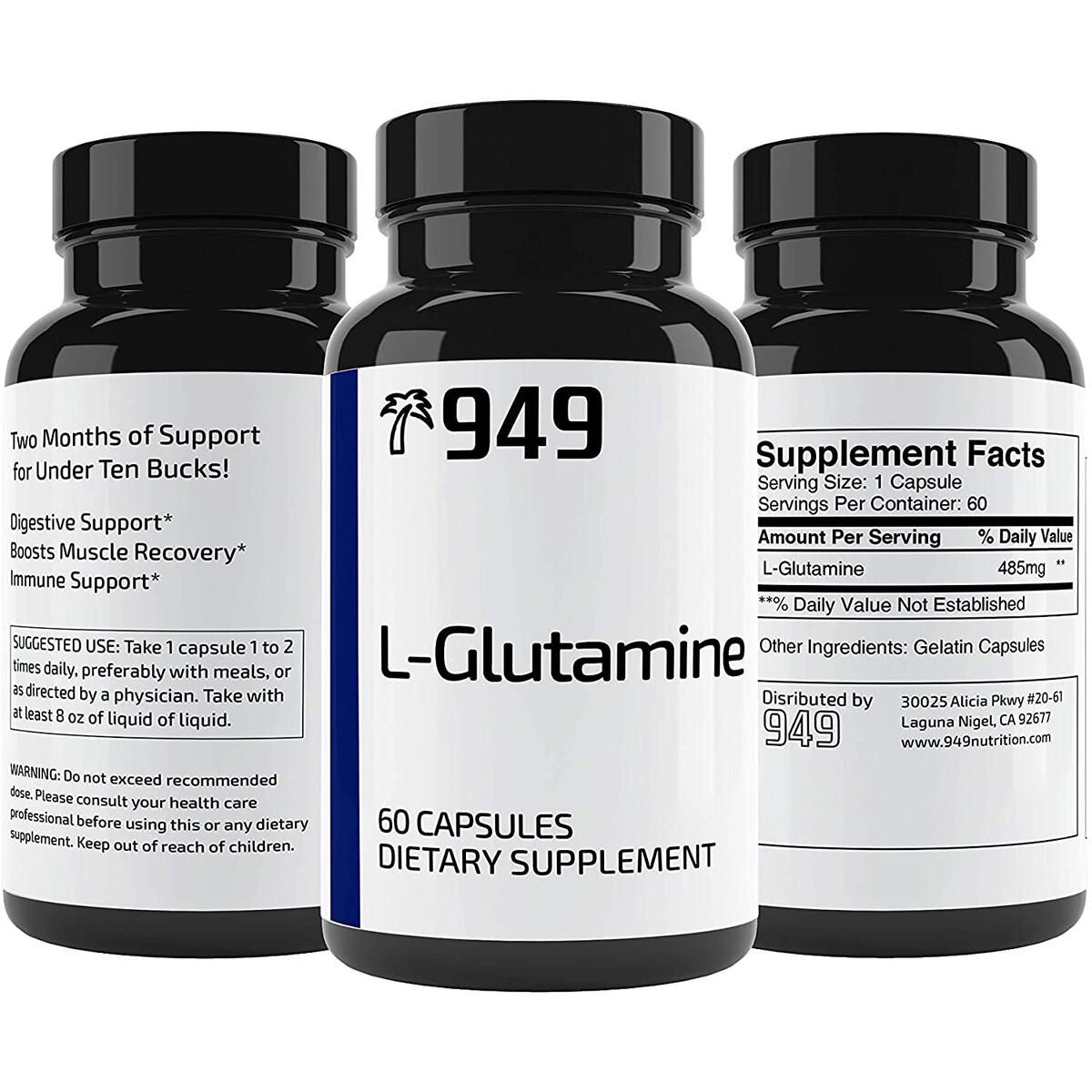 L-Glutamine, Under 10 Dollars, 60 Capsules, Healthy Digestion, Muscle Recovery, No Additive or Filler, Lab-Tested Purity, Made in USA, Satisfaction 100% Guaranteed, 949*
