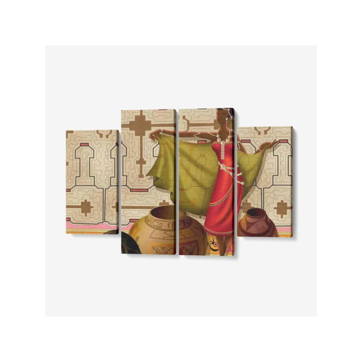 Afrocentric Merchant Queen 4 Piece Canvas Wall Art for Living Room - Framed Ready to Hang 4x12
