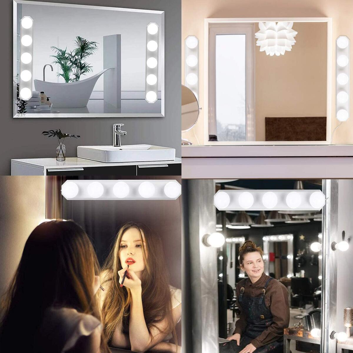 PANLAVIE LED Vanity Mirror Lights Portable 5 Bulbs Makeup Lights 3 Color Modes Dimmable Brightness USB Powered Cosmetic Light for Bathroom Mirrors Dressing Room Bedroom Cabinet