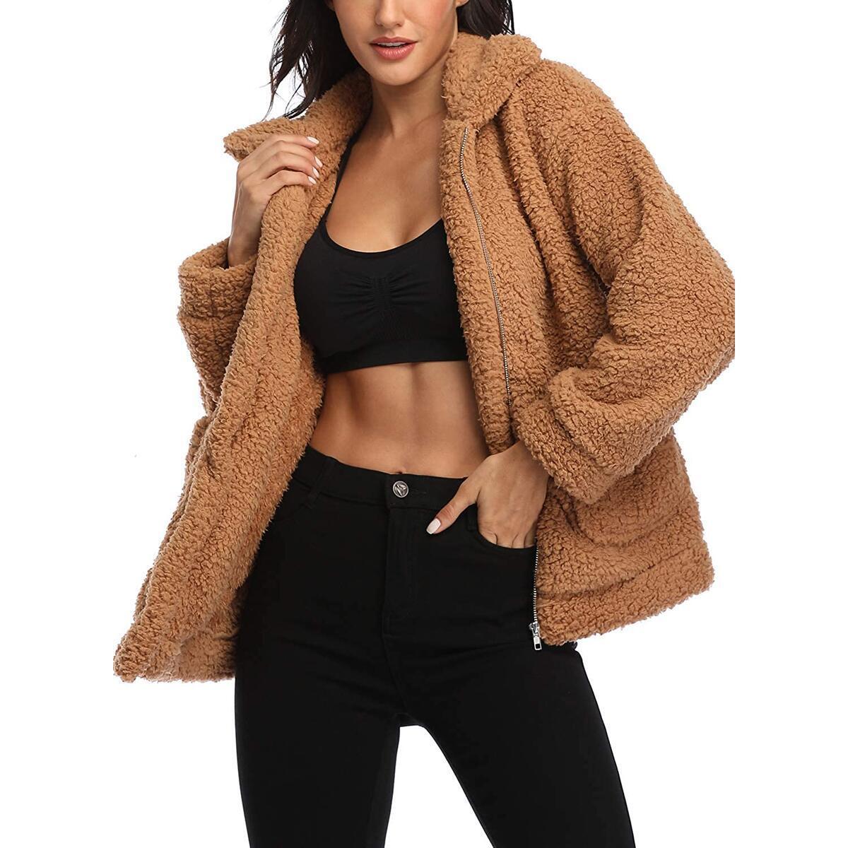 EZIGO Women's Fuzzy Fleece Sherpa Jacket Coat Warm Winter Faux Fur Shearling Jacket Coat with Pocket
