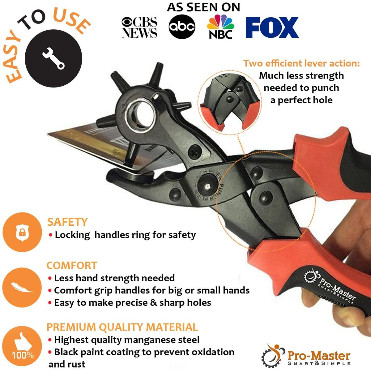 Leather Hole Punch Set for Belts, Watch Bands, Straps, Dog Collars, Saddles, Shoes, Fabric, DIY Home or Craft Projects. Super Heavy Duty Rotary Puncher, Multi Hole Sizes Maker Tool
