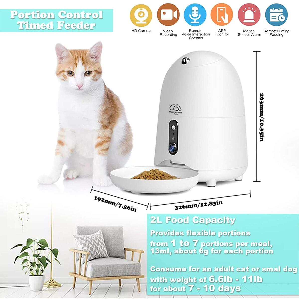 Automatic Cat Feeder, HD Camera WiFi Enabled Smart Auto Pet Feeder, Programmable Timed Dog Food Dispenser, Portion Control, Night Vision, Voice and Video Recording, App for iPhone and Android