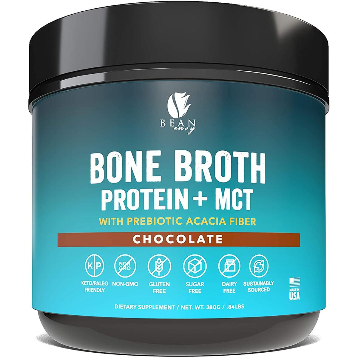 Bean Envy Bone Broth Protein Powder + MCT Oil + Prebiotic Acacia Fiber for Joint Protection, Better Digestion, Energy Boost, Weight Loss, and Sleep - Chocolate