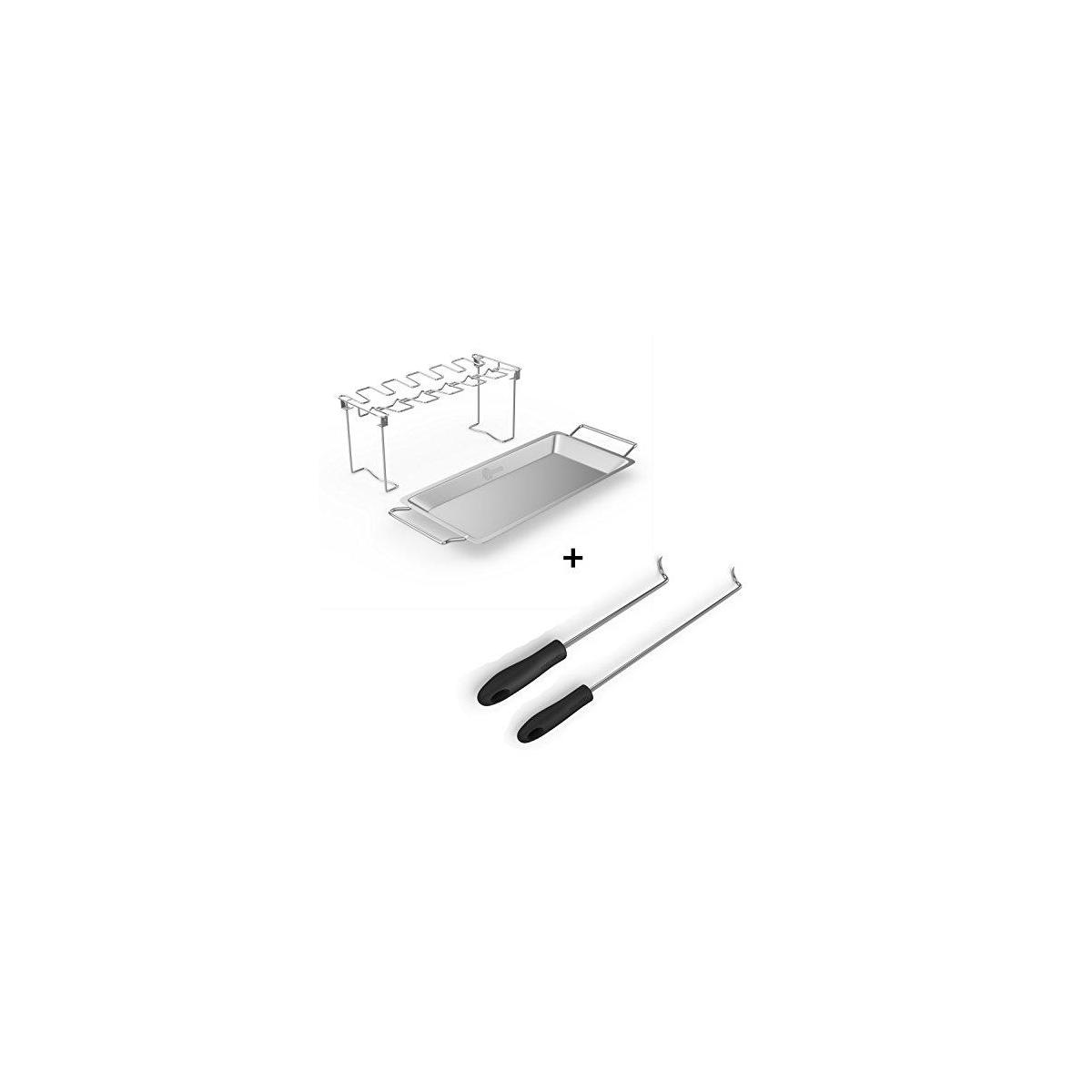 Chicken Wing Rack + Pigtail Food Flipper Hooks - Large & Small Barbecue & Cooking Turners For Turning Bacon Steak Meat Vegetables Sausage Fish and More - Replaces Grill Spatula Tongs & BBQ Fork