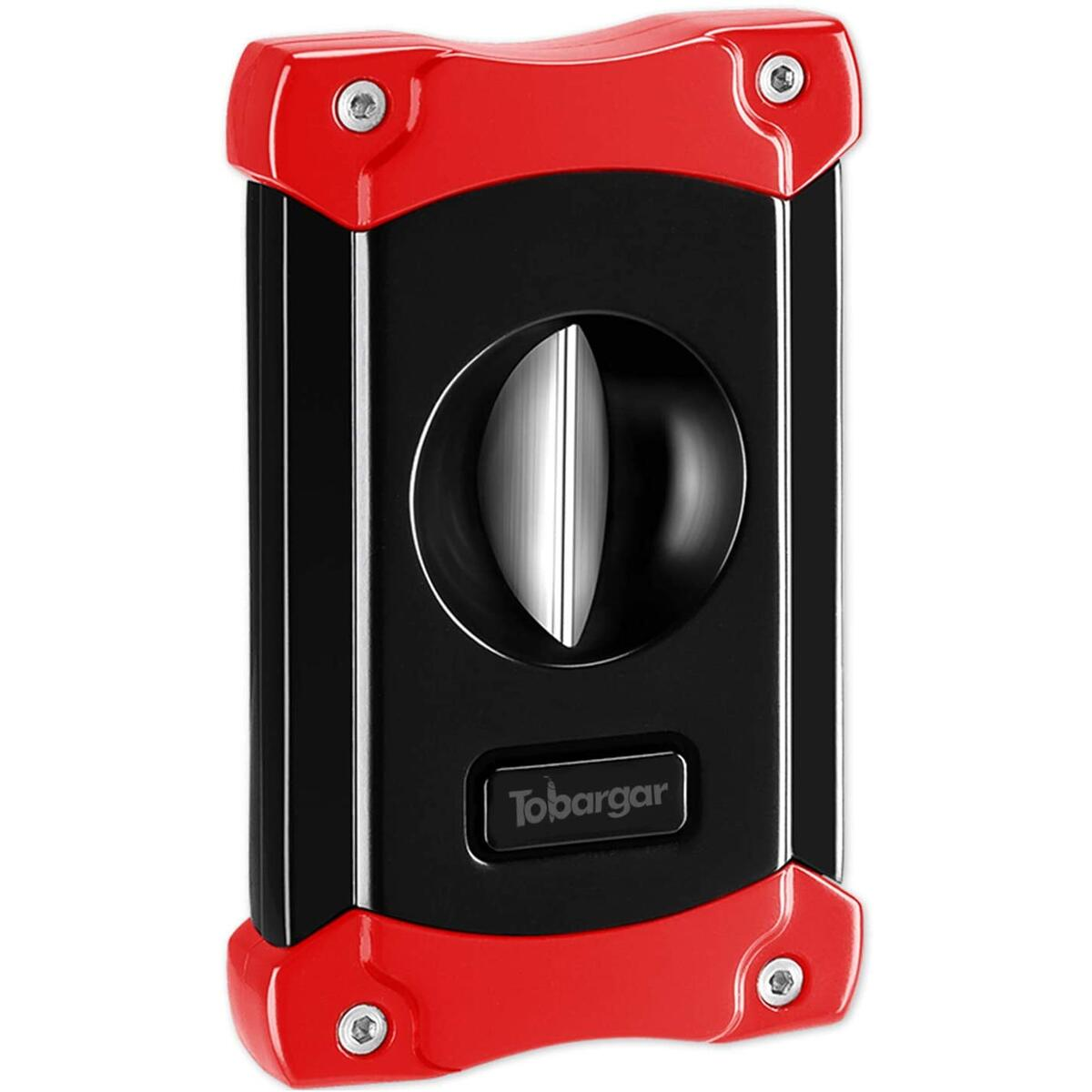 Tobargar Cigar Cutter, Stainless Steel V Cutter Cigar Retro Style with Exquisite Box (red)