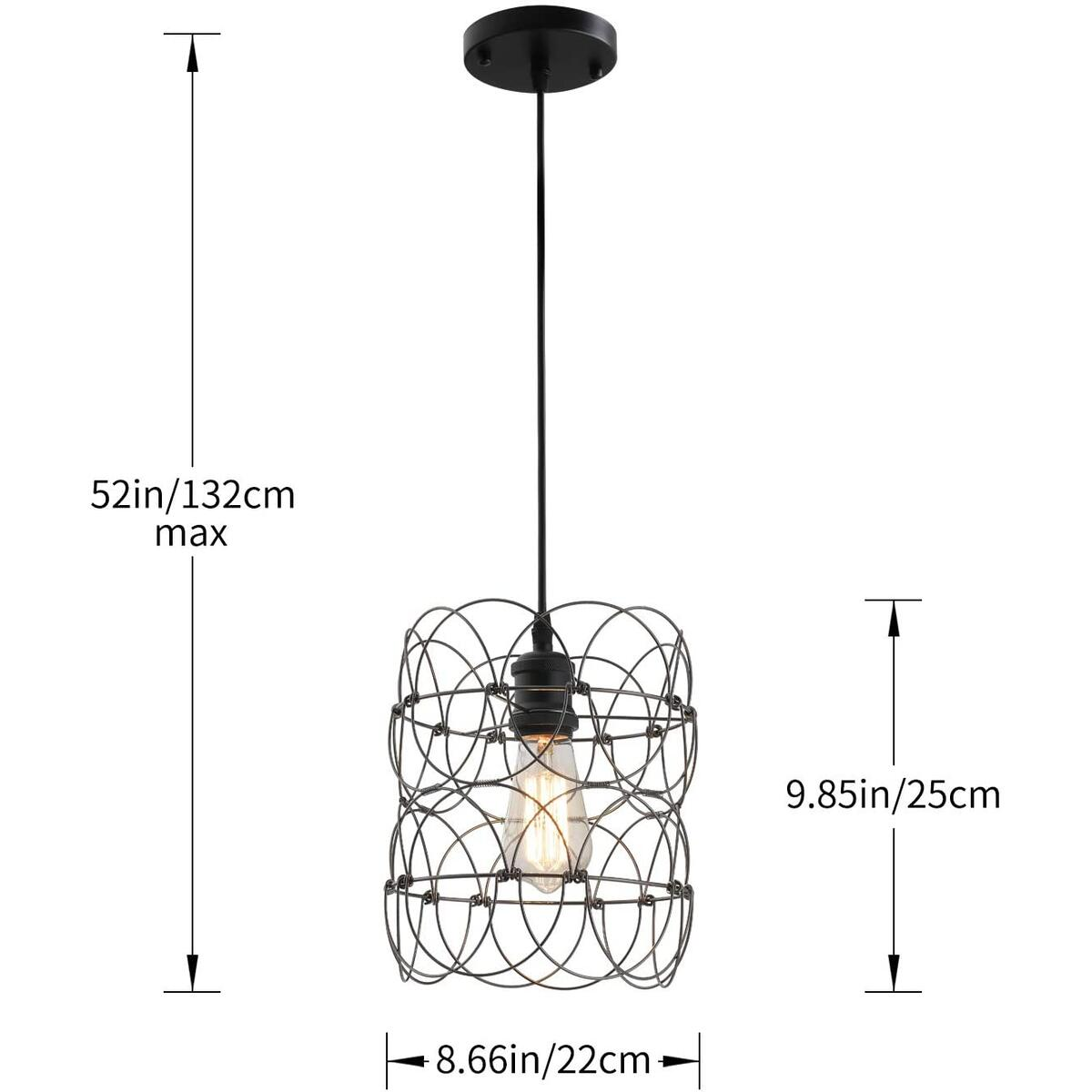 Black Metal Wire Caged Pendant Lighting Hanging Light Fixture, Multi Shape Farmhouse Pendant Light E26/E27 Dining Room Lighting Fixtures for Kitchen Island Living Room Hallway Entryway Foyer Lighting