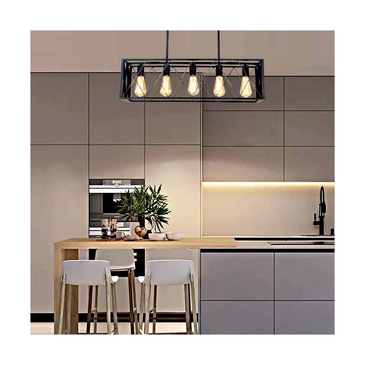 Modern 5-Light Industrial Kitchen Island Lighting, 30.3