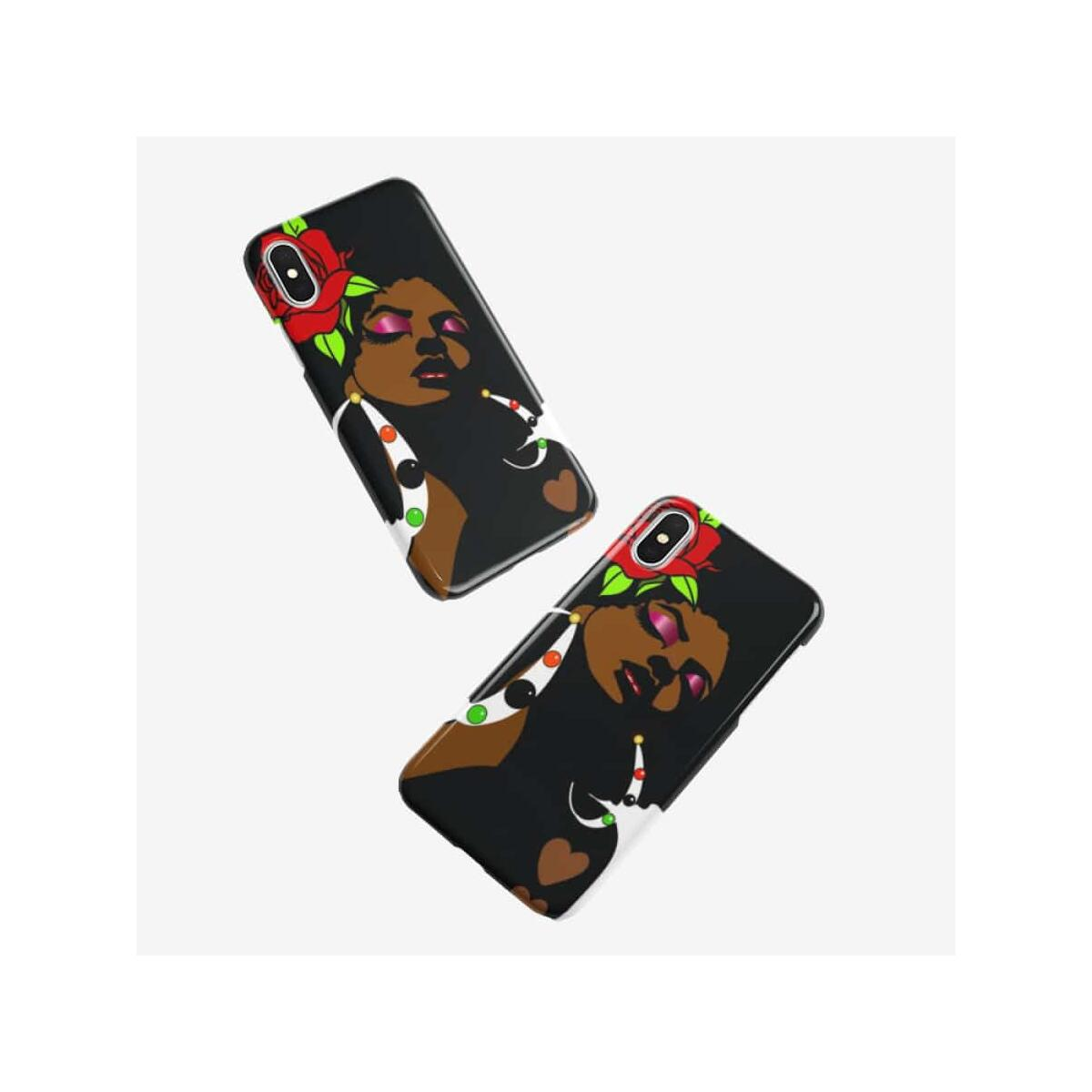 Black Afro Girl With a Red Rose Iphone case