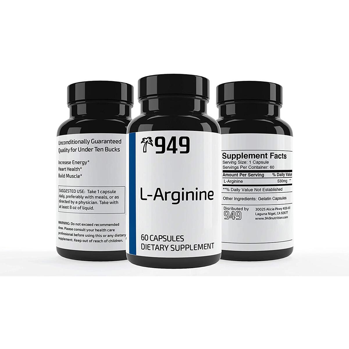 L-Arginine Capsules, Under 10 Dollars, 60 Capsules, Supplement for Muscle Growth, Pump Vascularity and Energy*, Pure with No Additives or Fillers, Made in USA, Satisfaction Guaranteed, 949