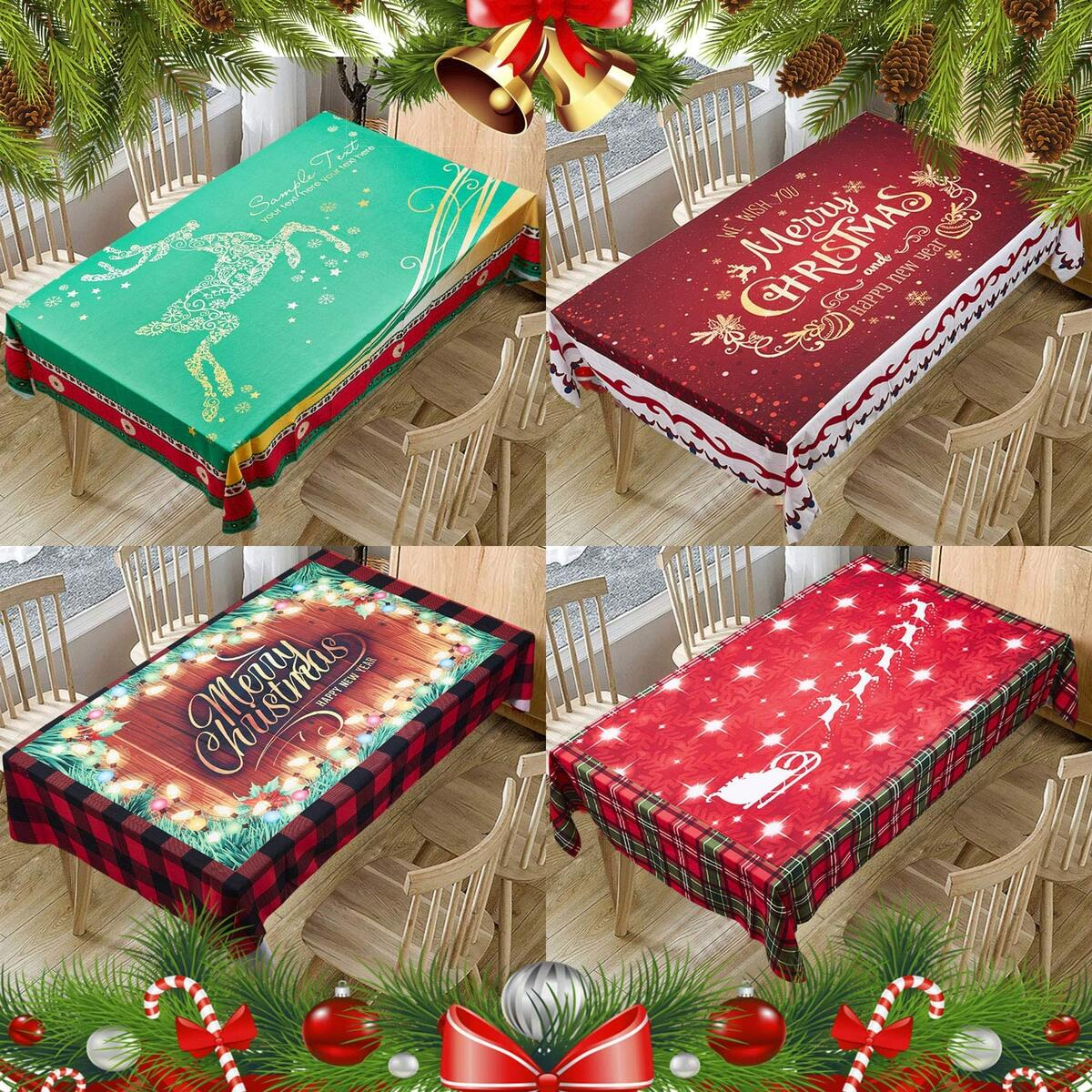 Christmas Printed Fabric Tablecloth,Oil-Proof and Waterproof Rectangle Table Cloth, Durable and Decorative Table Cover for Christmas and Thanksgiving (55