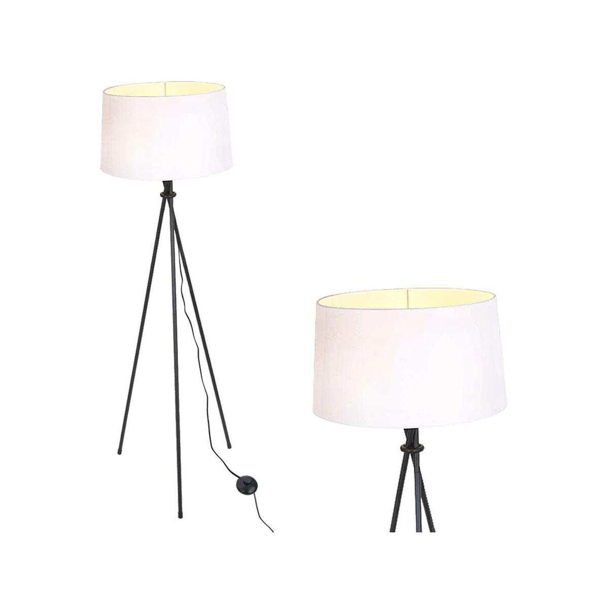 KARMIQI Modern Tripod Floor Lamp, Tall Farmhouse Standing Lamp with Drum Lamp Shade, Contemporary Floor Reading Lamp for Bedrooms Living Rooms Office(LED Bulb Included)
