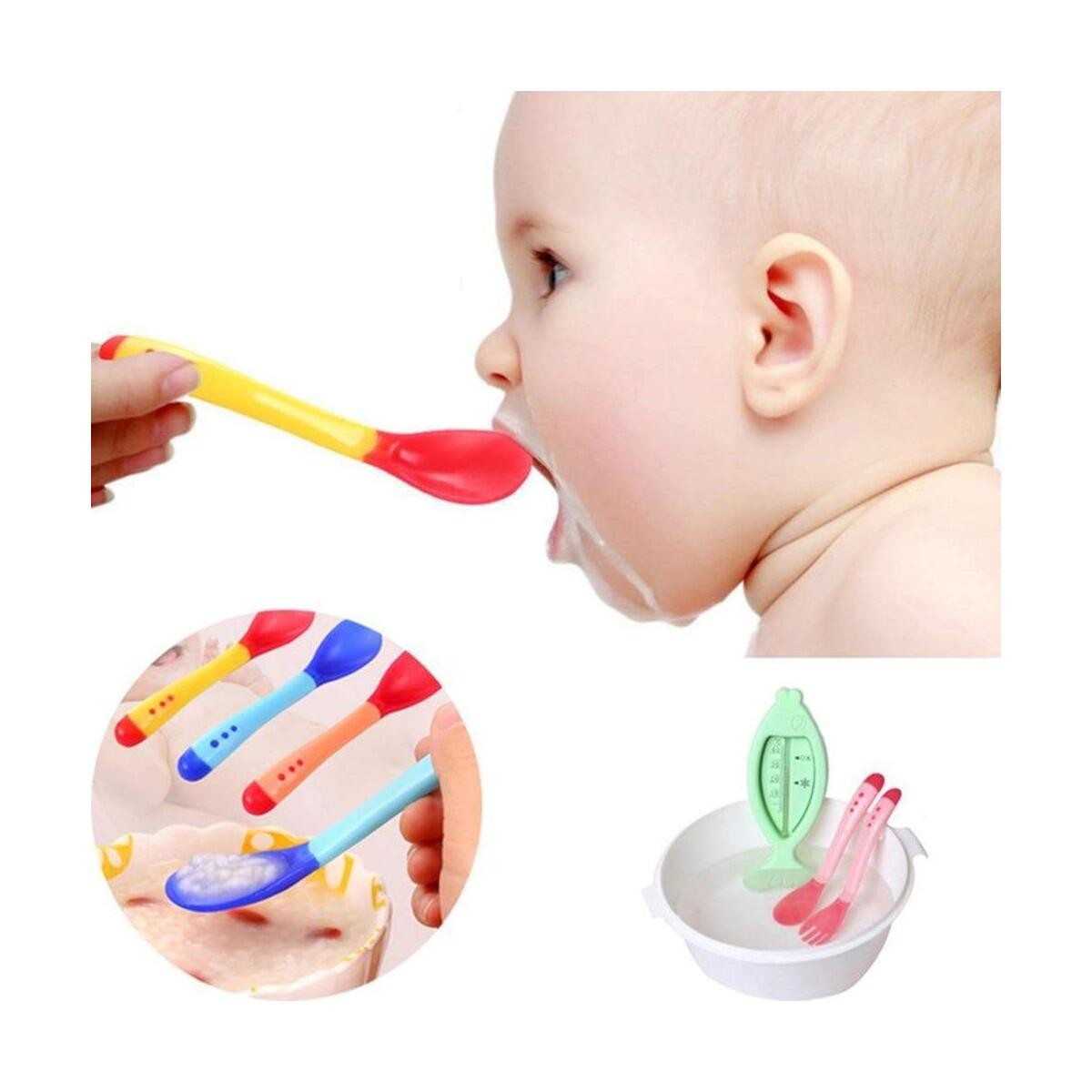 Baby Spoons Safety Temperature Sensing Feeding Silicon Spoon Kids Flatware Toddler Utensils Resistant Bendable Soft Perfect Self Feeding Learning