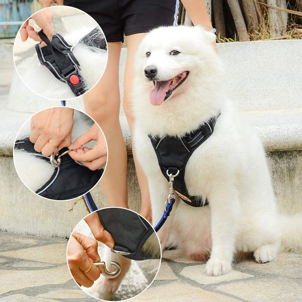 Happy Paws No-Pull Pet Harness with 2 Leash Clips, Adjustable Soft Padded Dog Vest, Reflective No-Choke Pet Oxford Vest with Easy Control Handle- Black Color