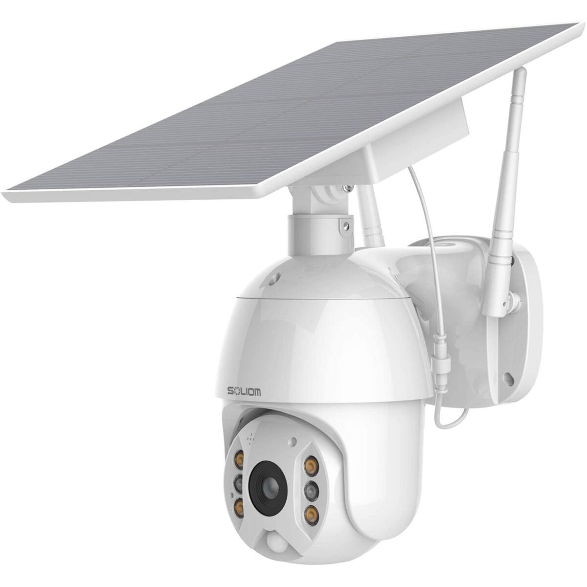 Security Camera Outdoor,Wireless WiFi Pan Tilt Spotlight Solar Battery Powered Motion Detection Home Camera with Color Night Vision,2.4G WiFi ,Secure Cloud/Sd Slot Storage -SOLIOM S600