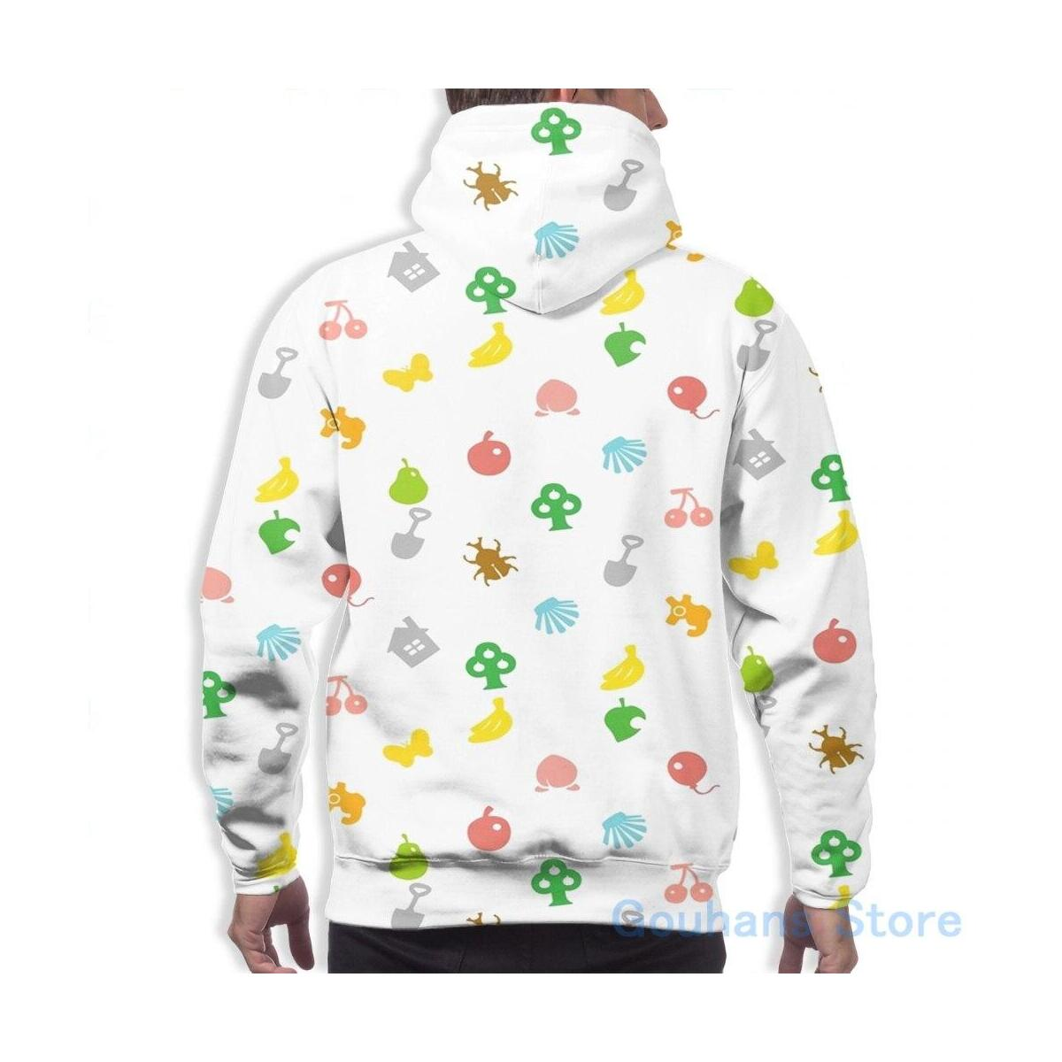 Animal Crossing New Horizons Icon Patterned Hoodie, Men / M