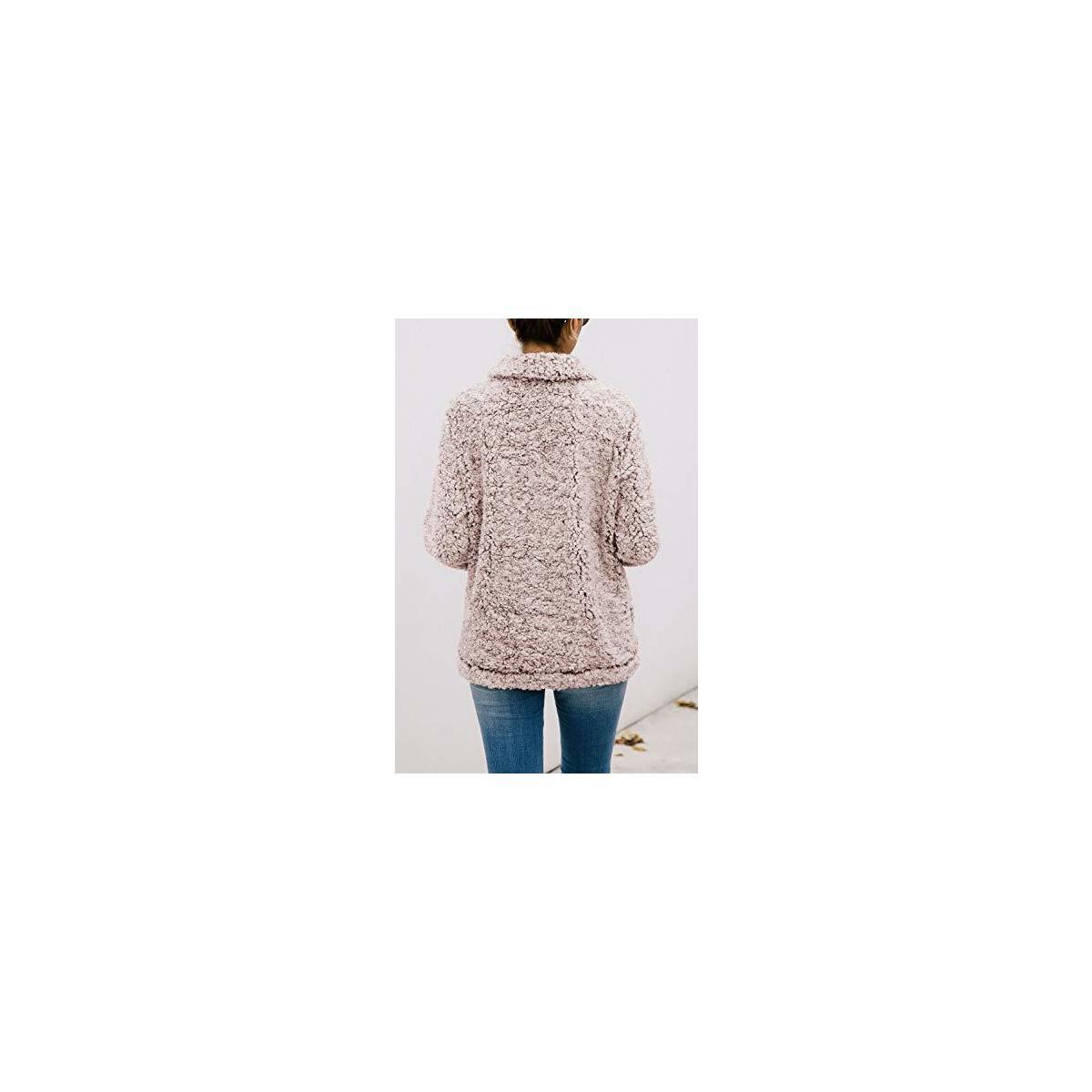 Women's Warm Fleece Color-Block Plaid Print Fluffy Sherpa Jacket Half Zipper Pullover Sweater with Pockets