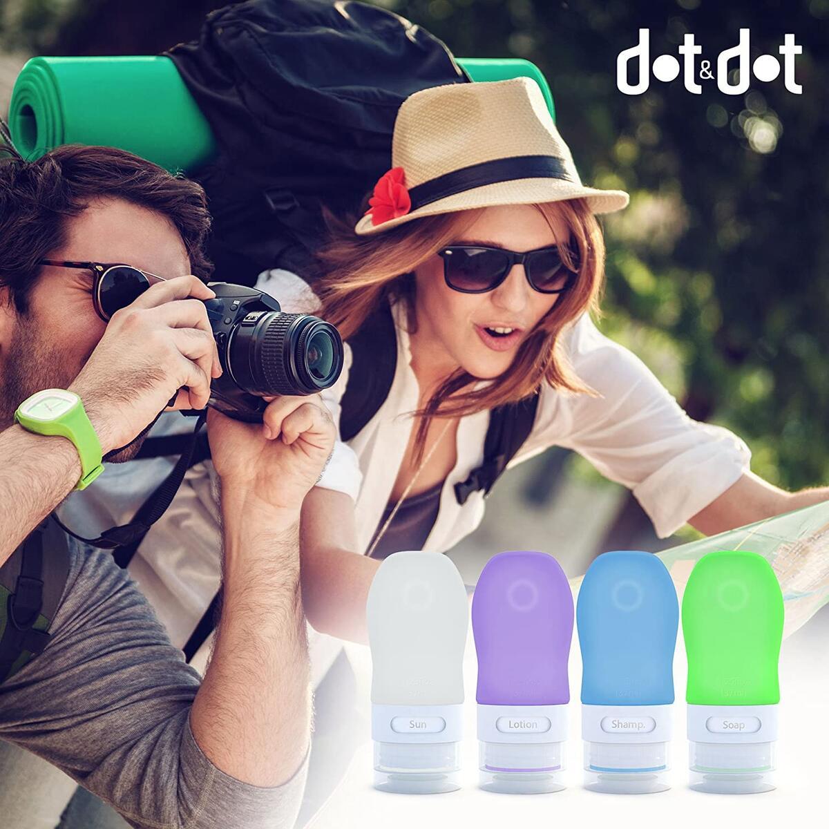 Dot&Dot Travel Bottles, White/Blue/Green/Purple, 1.25 oz , Set of 4