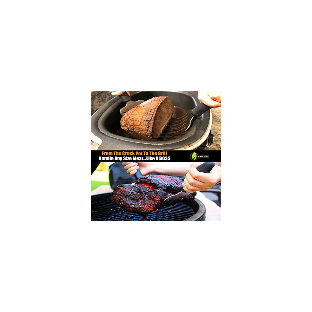 Pulled Pork Shredder Rakes + Beer Can Chicken Roaster Rack - INCLUDES 4 VEGETABLE SPIKES - Stainless Steel Vertical BBQ Roasting Holder - Dishwasher Safe Barbecue Stand & Extra Deep Drip Pan
