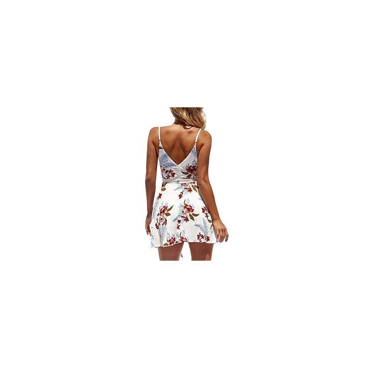 Women's Summer Dresses V-Neck Spaghetti strap Backless Floral Strap Mini Swing Skater Dress
