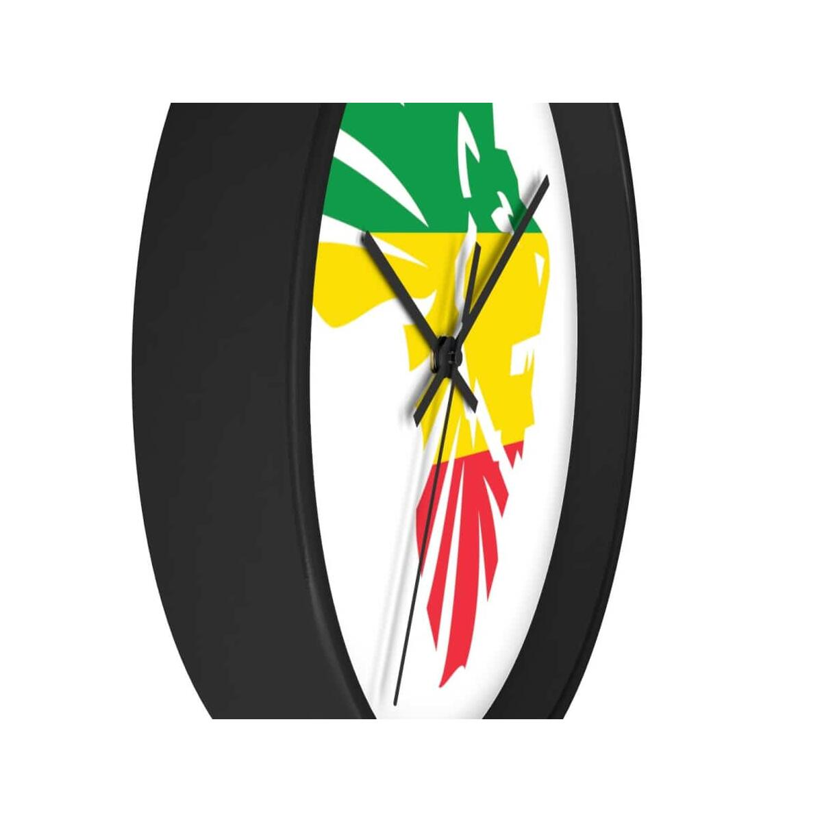 African Lion-Head Wall clock, 10 in / Black / Black