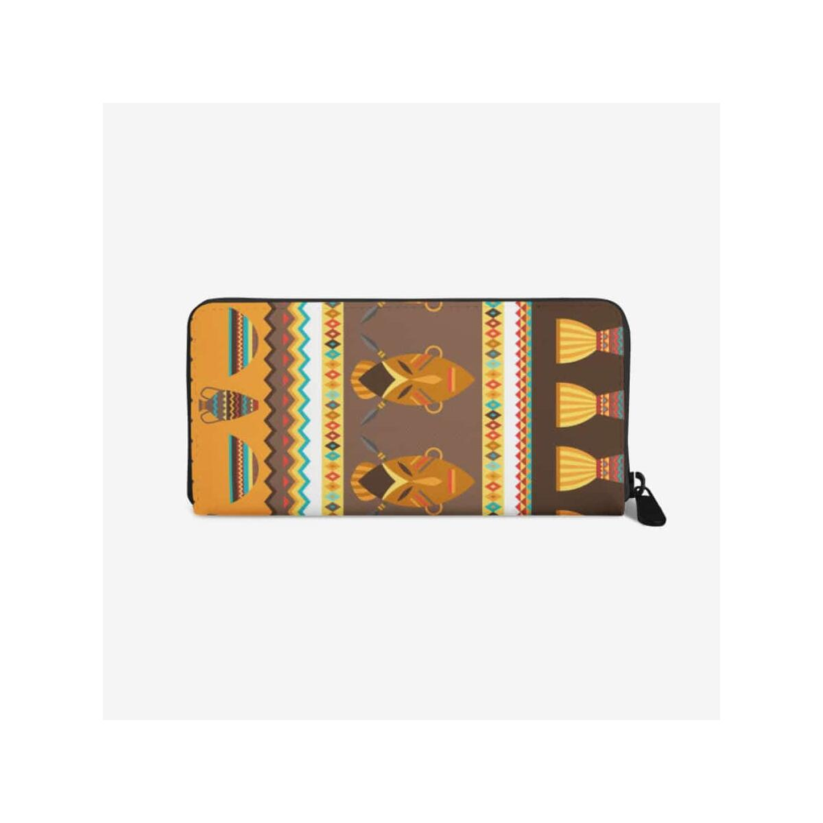African Djembe Masks premium PU Leather Wallet, White