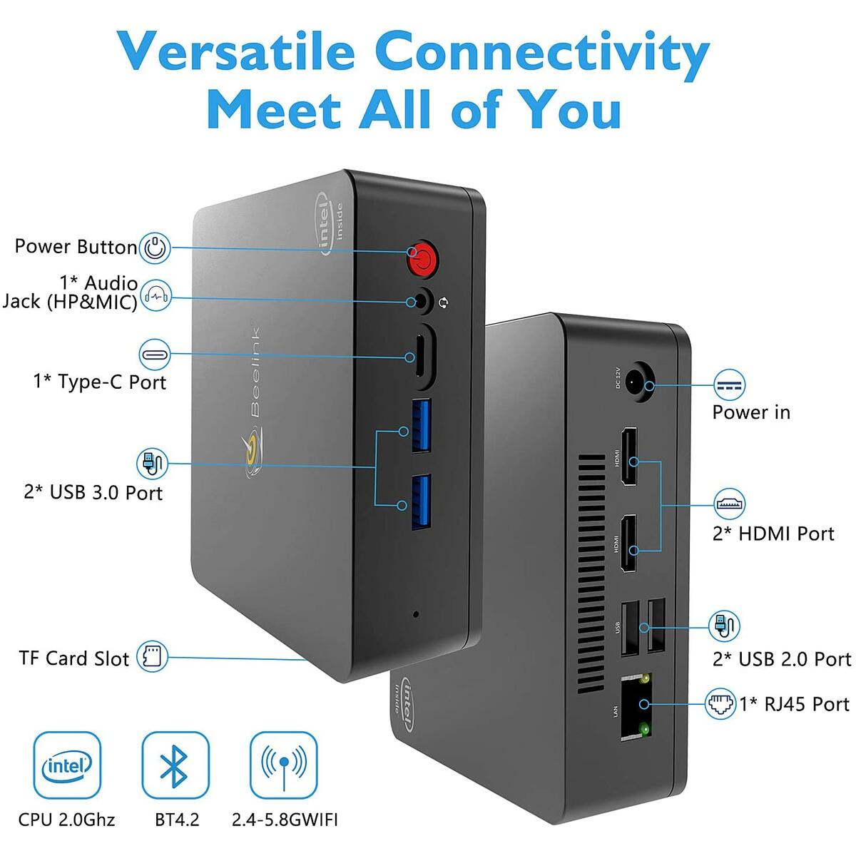 Beelink U55 Mini PC Windows 10 Pro, Intel Core i3-5005U Processor 8GB RAM 128GB SSD, 4K HD Dual HDMI USB 3.0 Port, Dual Band WiFi Gigabit Ethernet BT 4.2 Support Auto Power On (Beelink U55 8GB/128GB)