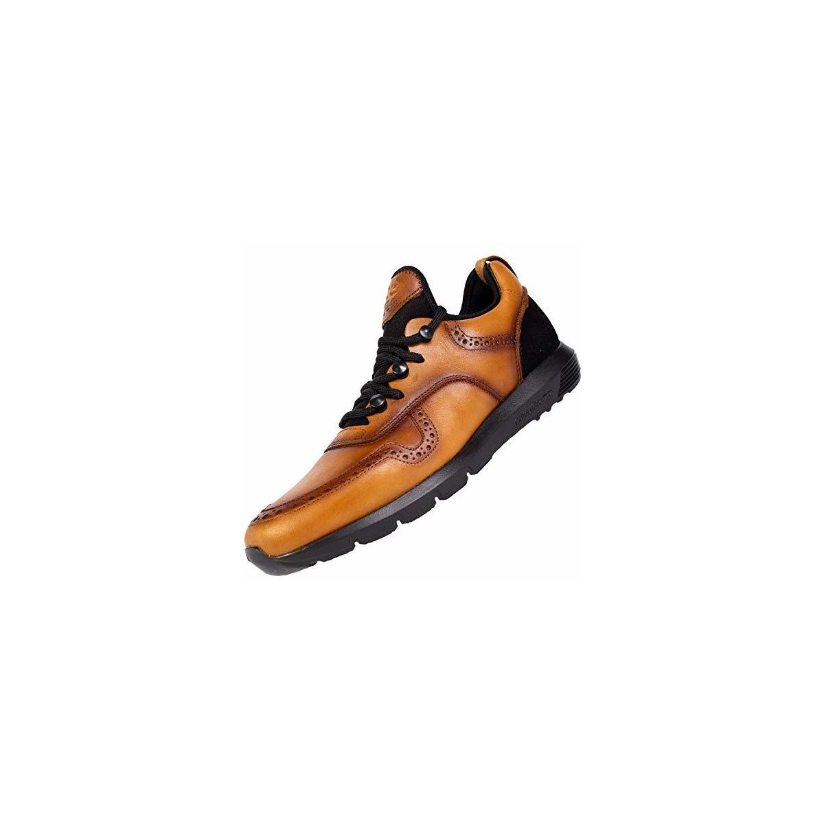 SABATTER Mens Leather Sport Sneakers for Walking - Leather Upper with Neoprene and Berkshire Lining Extra Light Athletic Training Running Shoes with Triple Memory Foam Insole - Spirit