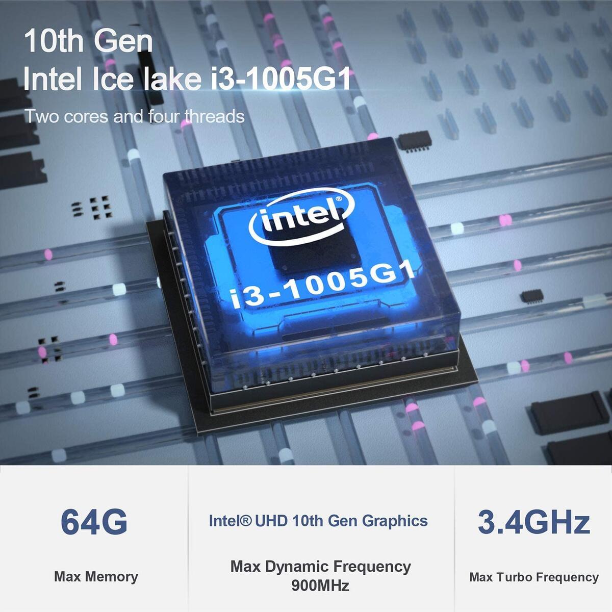 Beelink Dual-Core Intel 10th Gen Core i3-1005G1 3.4Ghz Sei10 Mini PC 8GB RAM 256GB NVMe M.2 SSD Windows 10 Pro Mini Desktop Computer Support 4K@60hz Dual HDMI (8GB+256GB/Intel 10th Core i3 1005G1)