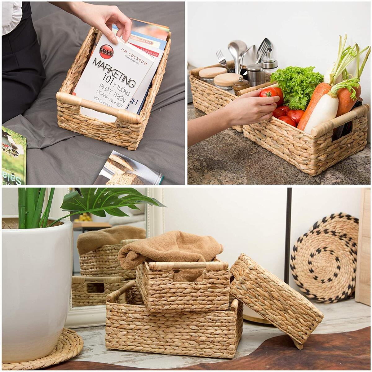 Wicker Baskets for Storage Organizing, Water Hyacinth Storage Baskets Rectangular with Wooden Handles for Shelves, Natural Wicker Storage Basket Bins - Set of Wicker Baskets for Home Organization