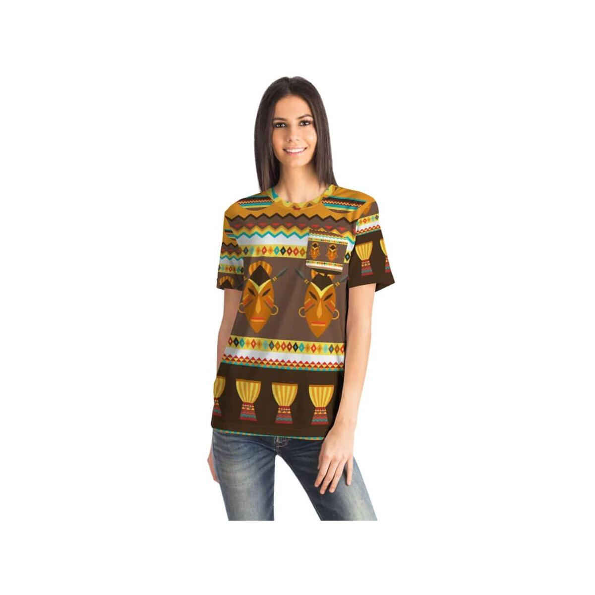 African Djembe Masks Pocket T-shirt, S