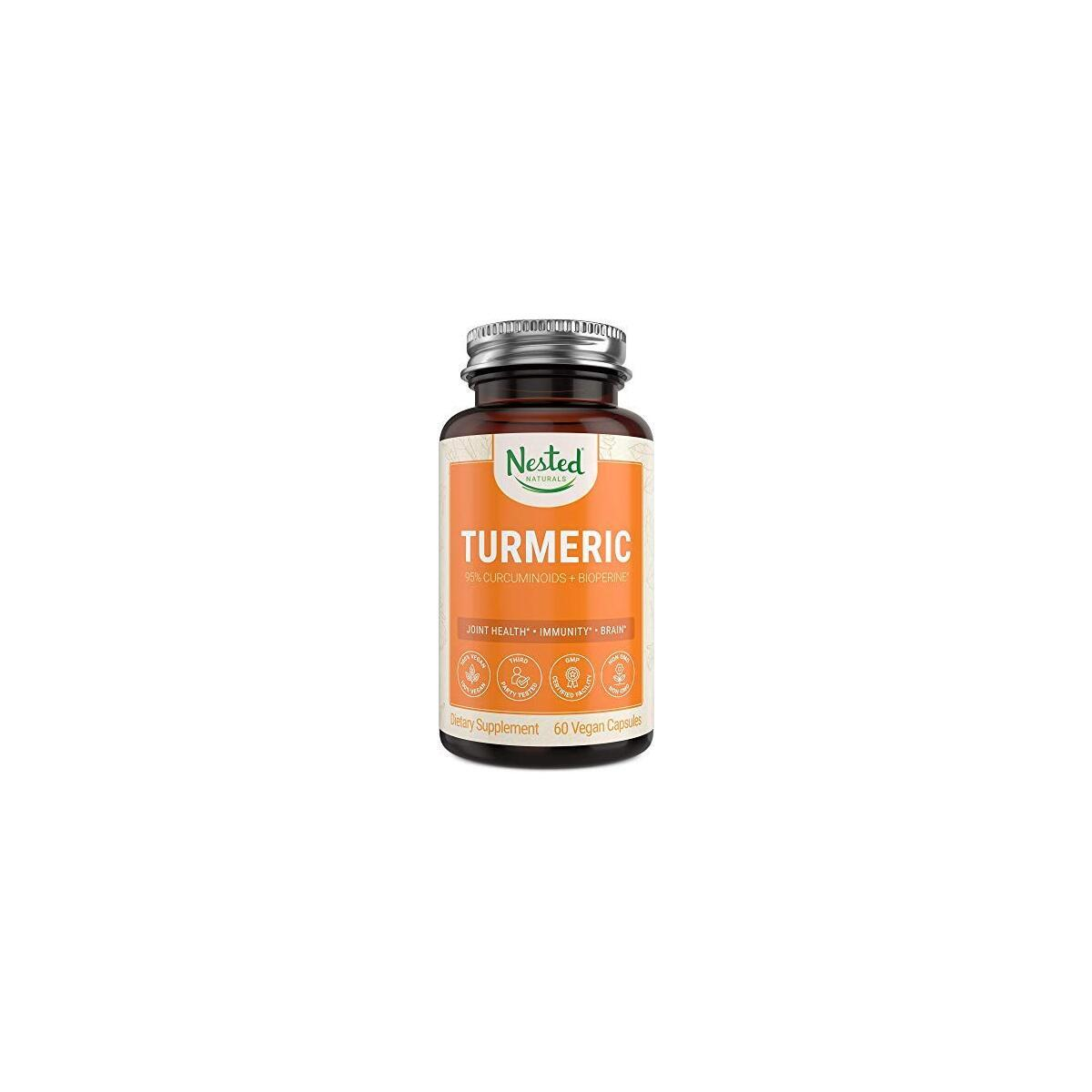 Nested Naturals Turmeric Curcumin with BioPerine (Black Pepper Extract) | Highest Potency 95% Curcuminoids | Vegan Joint Support & Healthy Inflammatory Response Supplement