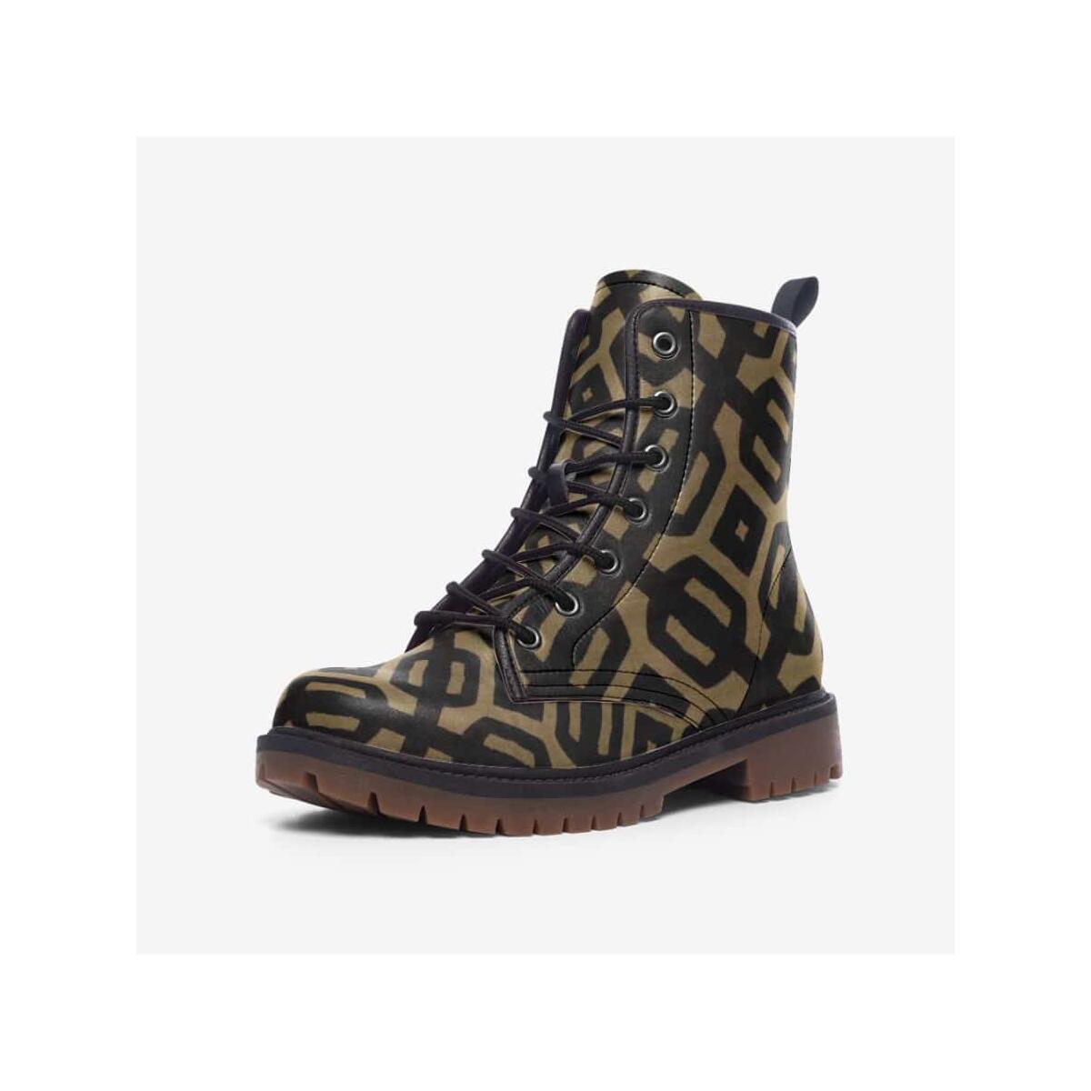 Brown Black Bogolan Leather Lightweight boots MT
