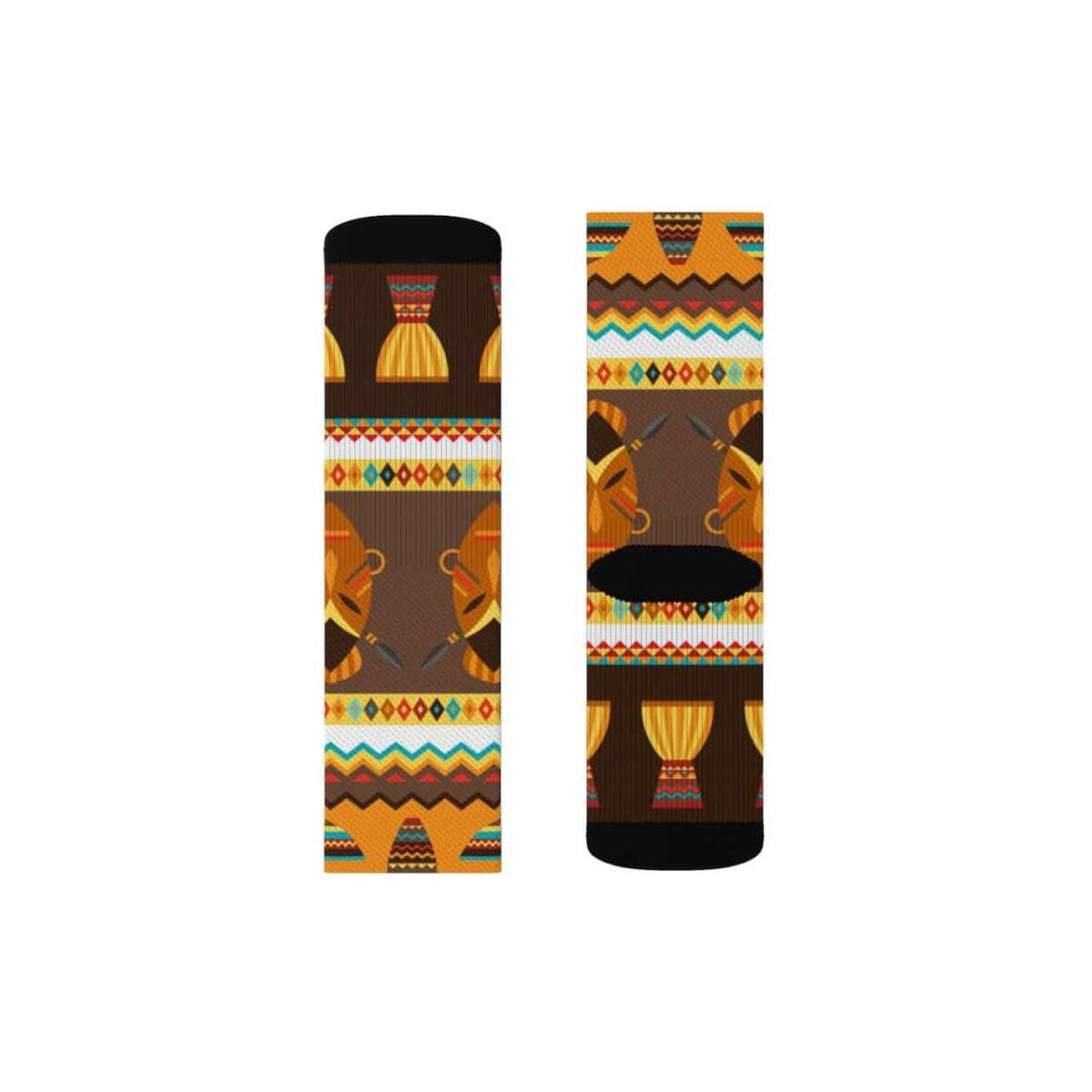 African Djembe Masks Sublimation Socks, L