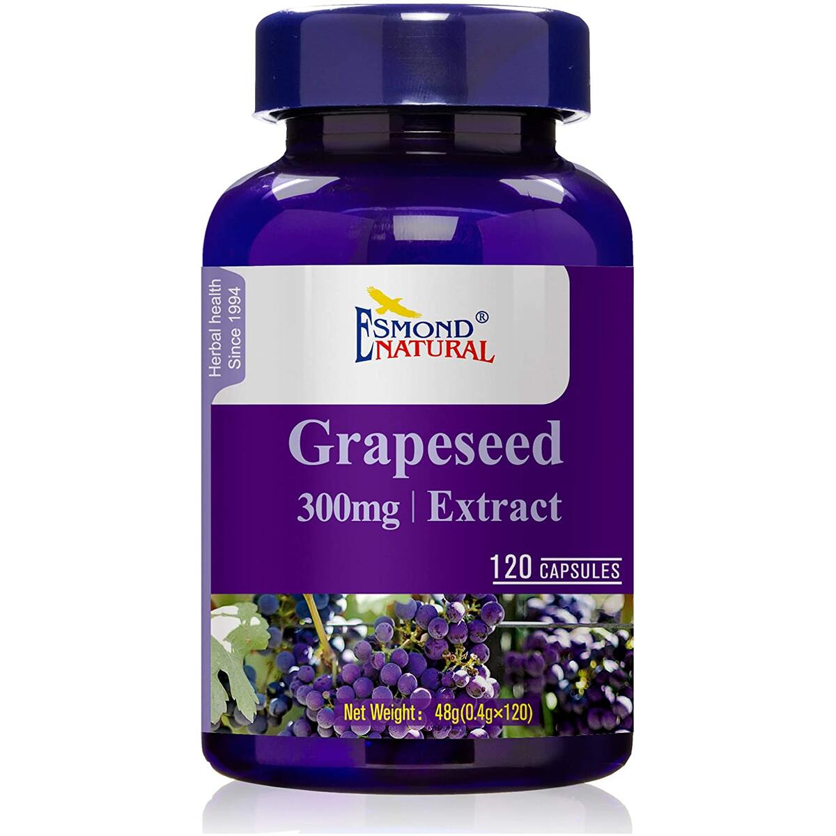 Esmond Natural: Grapeseed Extract (Helps Maintain Antioxidant Health), GMP, Natural Product Assn Certified, Made in USA-300mg, 120 Capsules