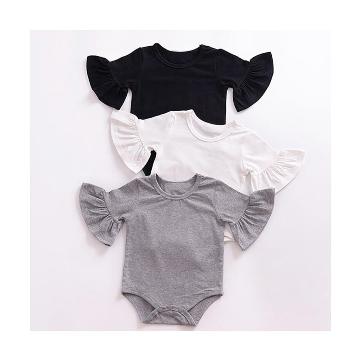Newborn Baby Girl Romper Flare Sleeve Ruffle Bowknot Solid Color Linen Cotton Tops Blouse Autumn Summer Bodysuit