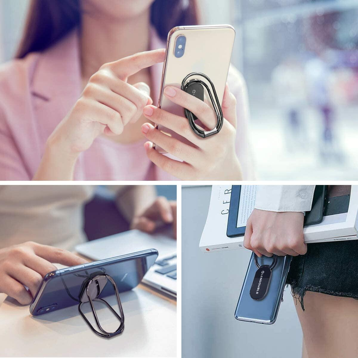 Adjustable Cell Phone Stand for Desk, Portable Desktop Holder and Multi-Angle Rotatable Metal Finger Ring Grip Kickstand for Magnetic Car Mount, Foldable Cradle for iPhone All Smartphone Case Back