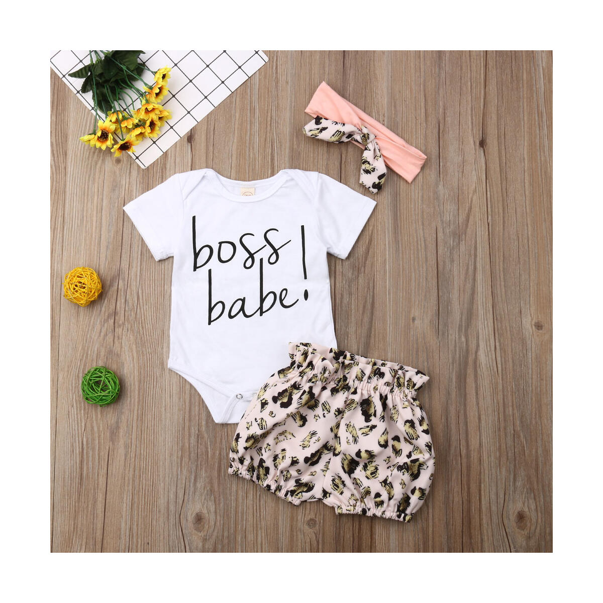 Baby Girl Clothes BOSS Babe Newborn For Infant Outfit Clothing Set Leopard Print