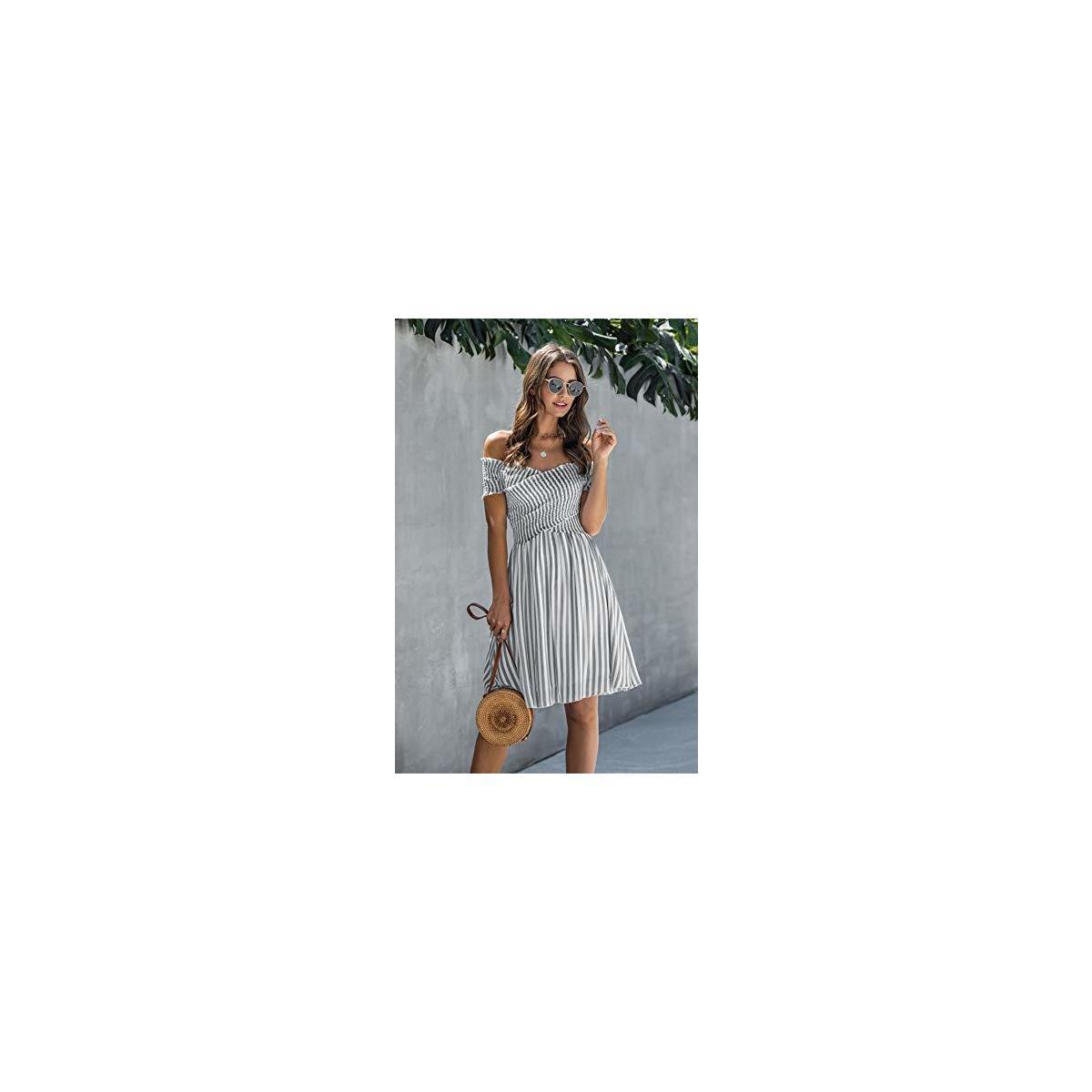 Minipeach Women's Bohemian Smocked Off Shoulder Summer Dress Ruffle Hem Striped Print Bandeau Shirred Dress