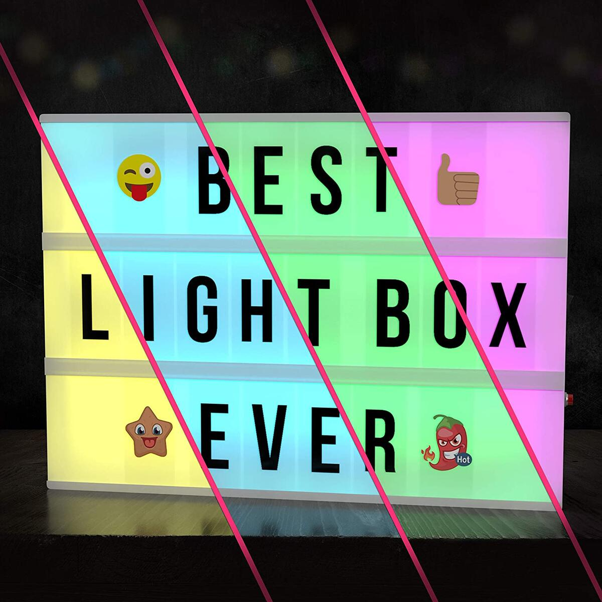 Cinema Light Box with Letters – New VOL 2.0! Marquee Color Changing Lightbox Sign with 352 Black Letters & Emoji - Premium Light Up Letter Board – 16 Dimmable Remote-Controlled Colored Options