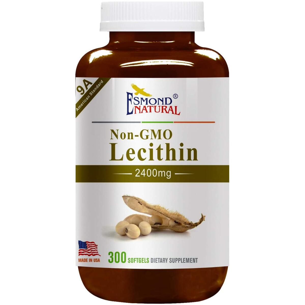 Esmond Natural: Lecithin (Non-GMO), GMP, Natural Product Assn Certified, Made in USA-2400mg, 300 Softgels