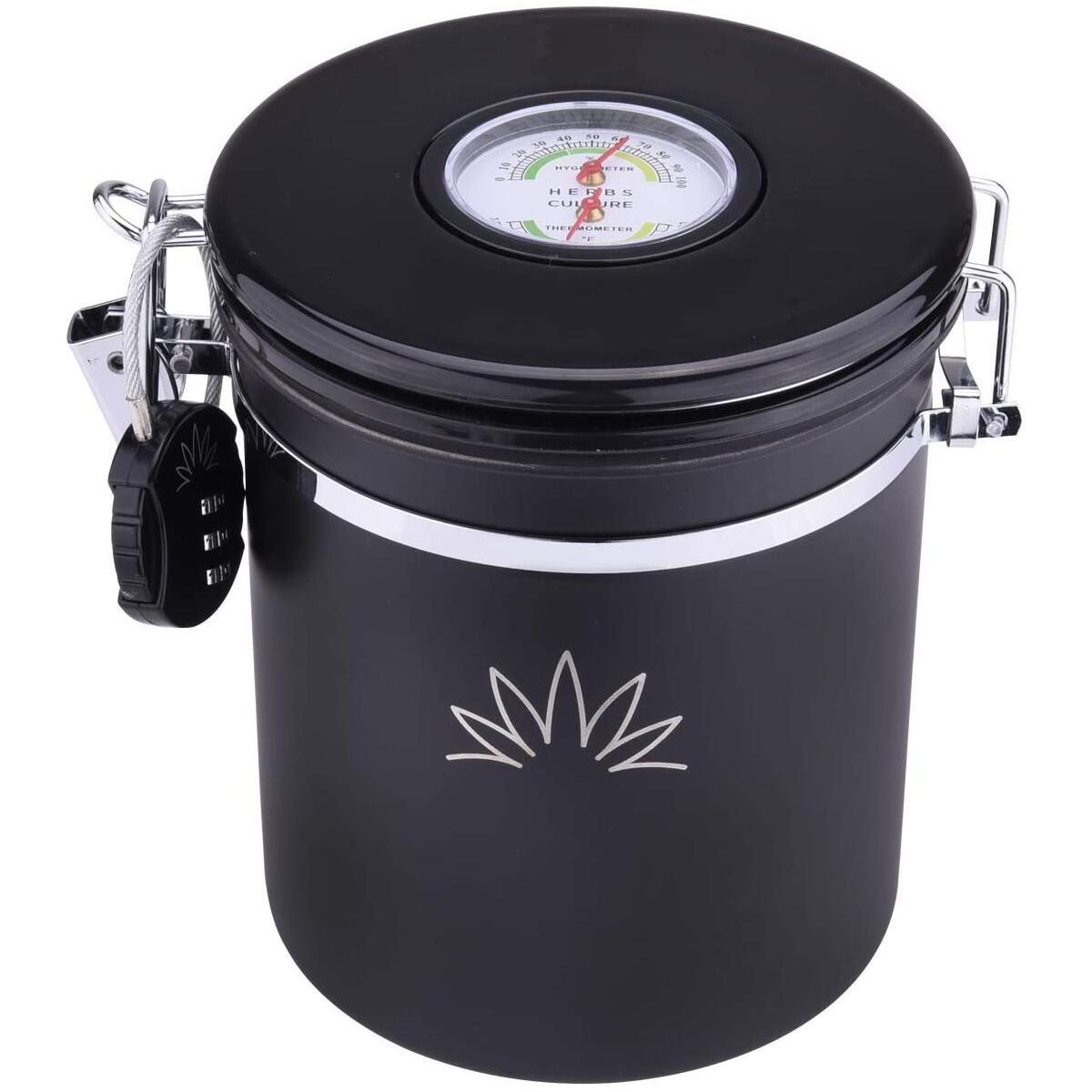 CRYPT - Cannister for storage with built in Hygrometer – Airtight Jar with Humidity Pack & Lock -Smell & Water Proof Keeps Herbs Fresh with RH STAYFRESH HUMIDITY PACK INCLUDED (1.5L)
