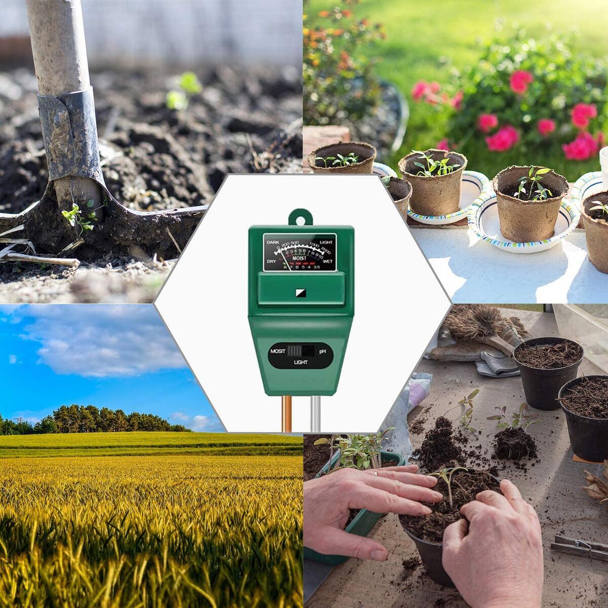 Axwcon Soil pH Meter, 3-in-1 Soil Test Kit Moisture/Light/pH Tester Great for Gardening, Farming, Indoor & Outdoor (No Battery Needed)