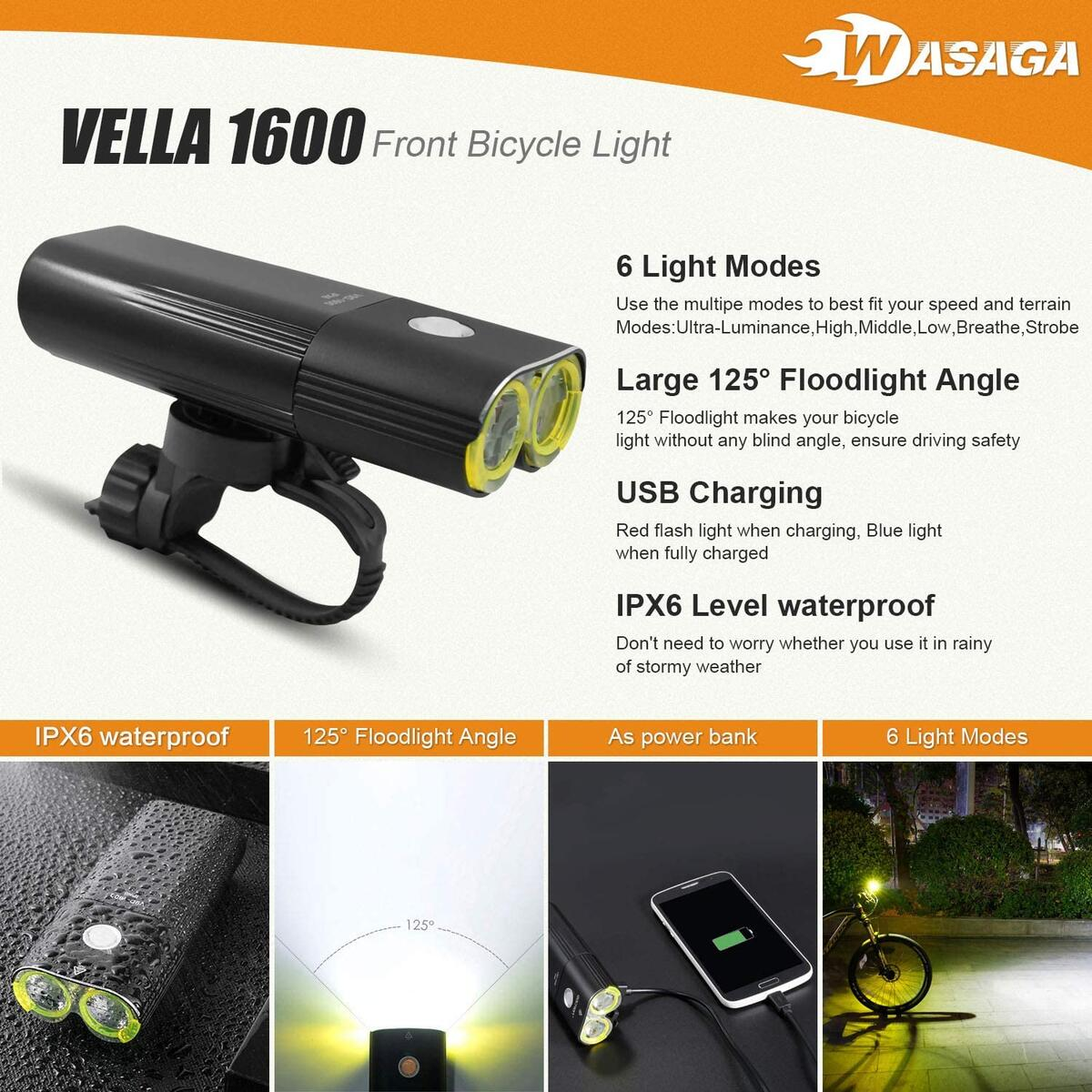 WASAGA Vella 1600 Bike Light Front and Back Bicycle Lights USB Headlight & Tail Lights for Commuters, Road Cyclists & Mountain Bikers