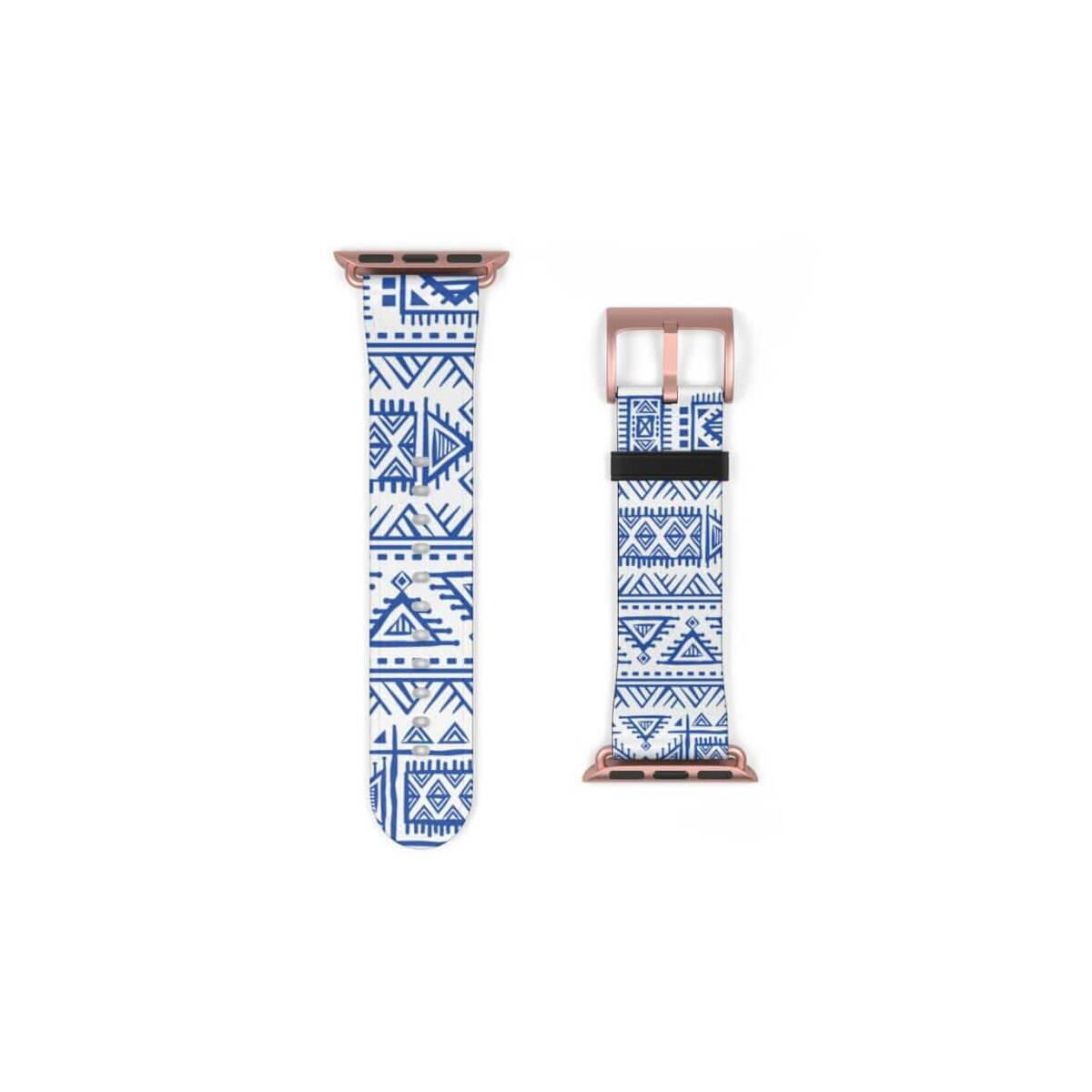 Tribal Blue African Mud cloth Watch Band, 38 mm / Silver Matte