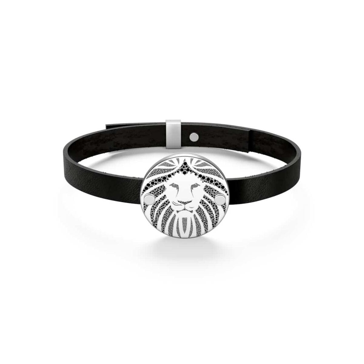 African Leather Bracelet, bainescoin / Silver