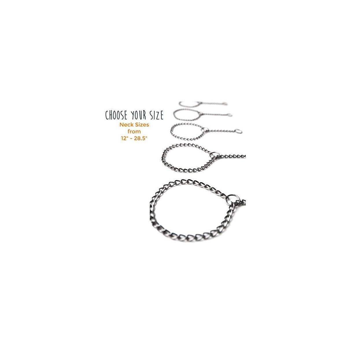 Mighty Paw Gun Metal Chain Slip Collar, Cinch Dog Collar, Choke Chain Metal Collar