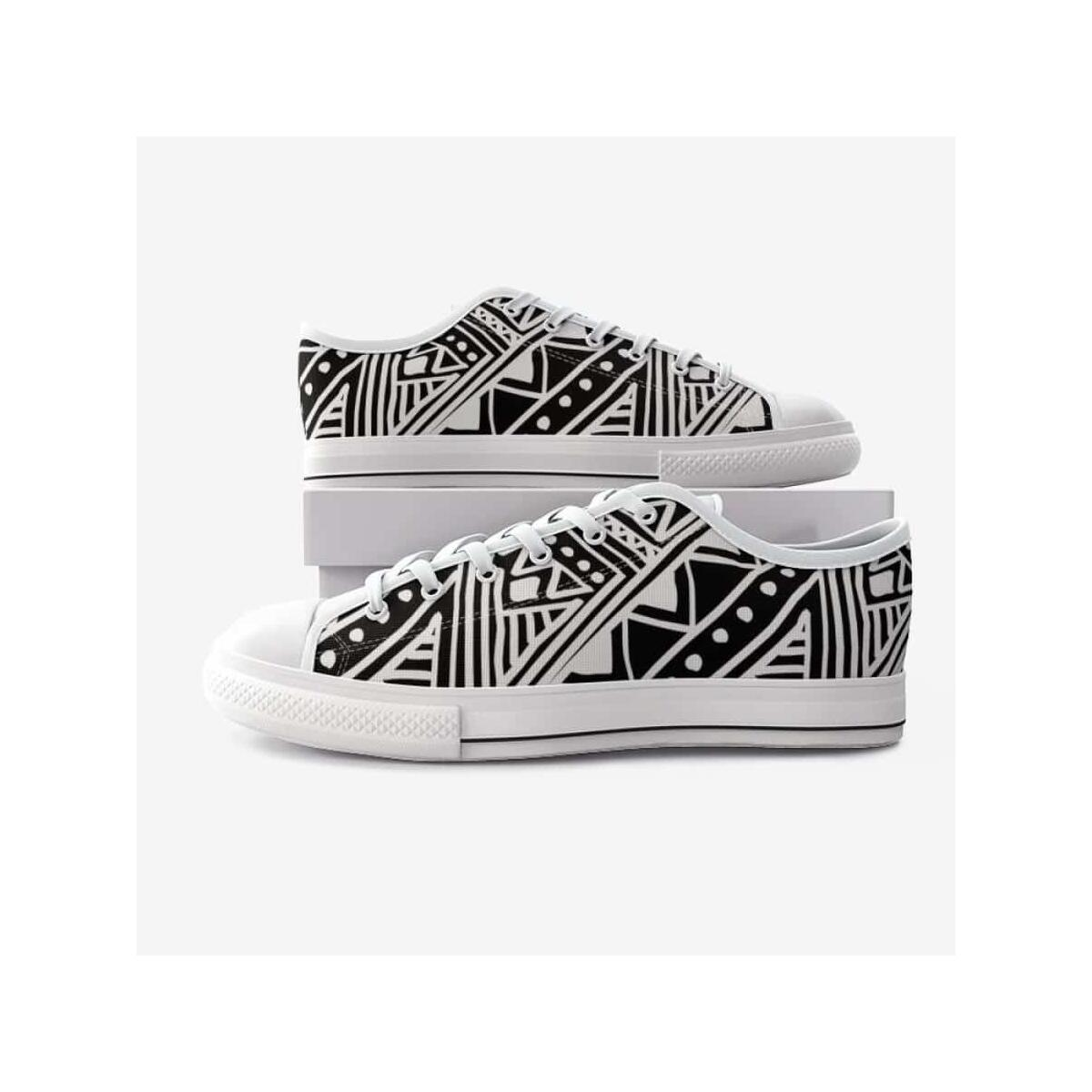African Mud Cloth Canvas Shoes, 5 Women / White