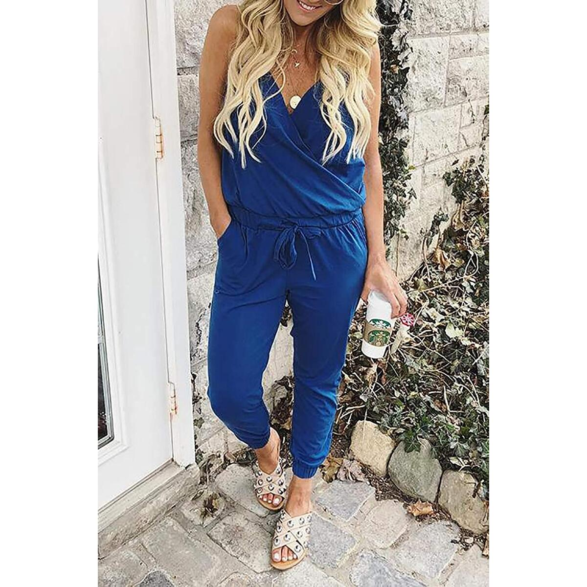 Alelly Women's Sexy V Neck Backless Spaghetti Strap Jumpsuit Rompers